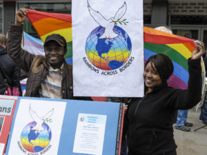 Rainbows Across Borders members in Croydon Town Centre for IDAHO 2013